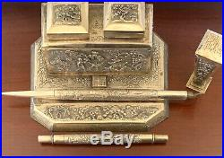 1800s CHINESE STERLING DIP PEN WAX SEAL NIB HOLDER SP DOUBLE INKWELL ANTIQUE