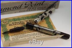 1900s DIAMOND POINT Red Mottled Sterling Silver Eyedropper Fountain Pen boxed