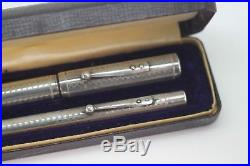 1915-17 WATERMAN 12 PSF GOTHIC Sterling Silver Overlay Fountain Pen Pencil set