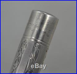 1920's Mabie Todd Swan Pen Etched Sterling Silver Dountain Pen 14K Flex Nib