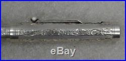 1920's Mabie Todd Swan Pen Etched Sterling Silver Fountain Pen 14K Flex Nib
