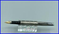 1970 Parker 75 AMBASSADOR Fountain Pen STERLING SILVER 14K Med nib NEAR MINT