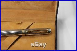 1990s WATERMAN Man 100 GORDON Sterling Silver Fountain Pen 18K Med nib Boxed