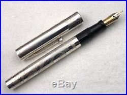 1992 Sheaffer 802 Nostalgia Sterling Silver Overlay Floral Fountain Pen 18k Nib