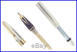 1997 Sheaffer Legacy Sterling Fountain Pen Barleycorn 18k Stub Nib Never Inked