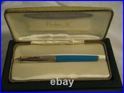 2002 Parker 51 Vista Blue Sterling Silver Gold Empire Fountain Pen In Case