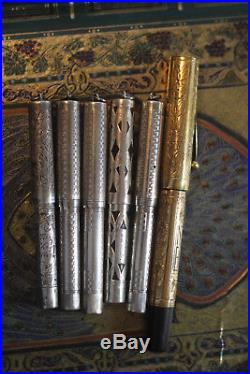 6 ANTIQUE WATERMAN'S Fountain pen collection from estate STERLING SILVER
