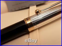 AURORA 88 Sterling Silver. 925 Cap Large Medium 18K Gold NIB Fountain Pen, NOS