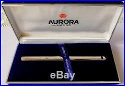 AURORA HASTIL Fountain Pen 925 Sterling Silver-14K F Gold Nib-Mint Condition