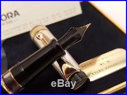 AURORA Optima Sterling Silver 925 Cap 14K Gold Medium NIB Fountain Pen, NOS