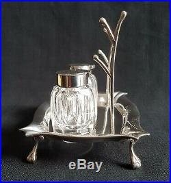 Antique 1902 Sterling Silver Inkstand Pen Rest Crystal Glass Inkwells W Aitken