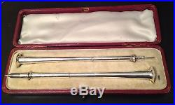 Antique Boxed Hunting Horn Sterling Silver Propelling Pencil & Pen Set 1887-88