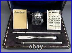 Antique Edwardian Sterling Silver Writing Desk Set Inkwell Fountain Pen Calendar