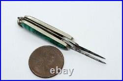 Antique Scottish Silver & Agate Folding Double Blade Miniature Pen Knife Charm