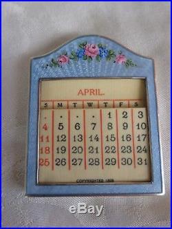 Antique Sterling Guilloche Enamel Roses Floral Calendar Pen Holder Desk Set
