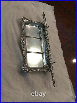 Antique Sterling Silver Ink Pen Tray With Sterling Pen From 1900 Era