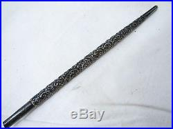 Antique Textured Embossed Sterling Silver Fountain Dip Pen Floral