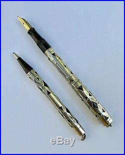 Antique Watermans Ideal 452 Sterling Silver Filigree Fountain Pen & Pencil Set