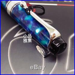 Aurora Limited Edition Optima 365 Blue Marble Silver Trim 18K Fountain Pen
