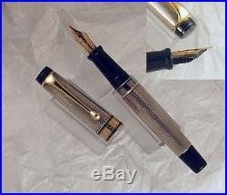 Aurora Optima Sterling Silver Fountain Pen, Gt, 18k M Nib, Near Mint