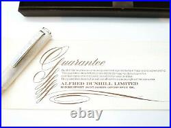 Boxed Vintage Dunhill Brushed Sterling Silver Fountain Pen 14k Gold Stub Nib