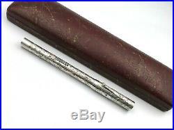 C1929 Waterman 452 1/2 Lec Sterling Silver Engraved Vine Fountain Pen #2 Flex