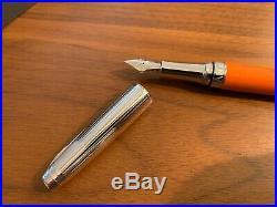 Caran d'Ache Leman Saffron Rhodium Plated Fountain Pen (F) New
