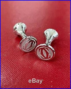 Cartier Sterling Silver Cufflinks & Ballpoint Pen Set with Box