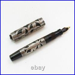 Collectible Antique Morrison's Sterling Silver Leaf Inlay Pen / Pencil Set