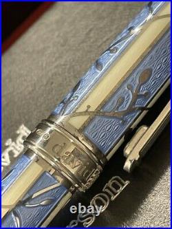David Oscarson Trellis Fountain Pen Limited 04/88 Edition Azure White/rhodium
