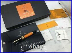 Delta Dolcevita Orange & Black Gold Sterling Silver Fountain Pen 18k Medium Nib