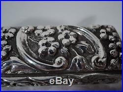 Edwardian Box Antique Repousse Desk Pen Pencil English Sterling Silver