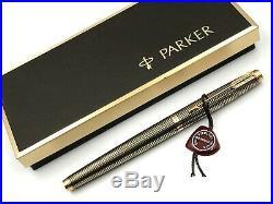 FINE 1970s PARKER 75 STERLING SILVER VERMEIL GOLD FILL CISELE FOUNTAIN PEN 14K M