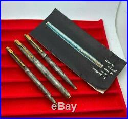 FIRST YEAR Parker 75 Cisele Fountain Pen Ballpoint Pen Pencil Set Metal Threads