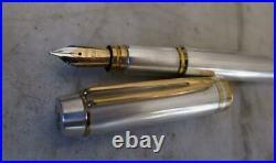 Fabulous Scarce Waterman Man 100 Sterling Silver Fp Smooth Solid Gold 18k Nib
