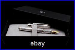 Fountain Pen Moire Sterling Silver Medium Nib Waterman Cartridges Black Ink