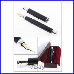 Georg Jensen Fountain Pen Fine Gold Nip. Sterling Silver & Black Chinese Laquer