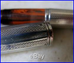 Gorgeous Scarce Waterman 52 1/2 Ripple Sterling Silver Lever Filler Fountain Pen