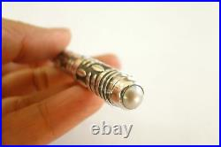 Handmade White Mabe Pearl Oxidised 925 Sterling Silver Ballpoint Writing Pen