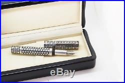 KRONE NAILHEAD Sterling Silver OS FOUNTAIN PEN Black Diamonds 18k M nib MINTY