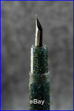 Krone Neptune Fountain Pen 18K F nib, sterling silver trim, button filler