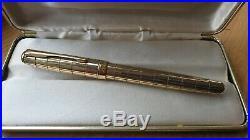 MIB PARKER SONNET CROCODILE 925 Sterling Silver VERMEIL Fountain Pen 18K M NIB