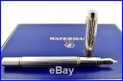 MINT + BOX Waterman Man 100 Limited Edition Sterling Silver Fountain Pen F Nib