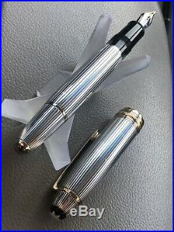 MONTBLANC MEISTERSTUCK SOLITAIRE PINSTRIPE STERLING SILVER FOUNTAIN PEN, OB Nib