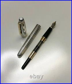 MONTBLANC Meisterstück Godrons Pattern 925 Sterling Silver Fountain Pen 18k Nib