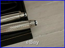 MONTBLANC Meisterstuck Solitaire Sterling Silver Ballpoint & Rollerball Pen Set