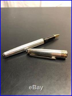 MONTBLANC Meisterstuck Sterling Silver / Gold Pinstriped Ballpoint Pen