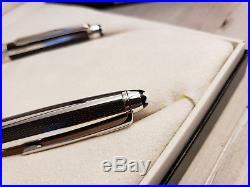 MONTBLANC Sterling Silver Carbon Fibre 163 Rollerball Pen & 164 Ballpoint Pen