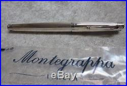 MONTEGRAPPA Italia Sterling Silver Fountain Pen & 18k Gold Nib With Box NEW