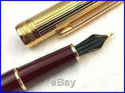 Montblanc 144dv Doue Vermeil Sterling Silver Bordeaux Fountain Pen 18k Med Nib